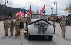 Veterans Day Parade in Branson with Scout Troop and the 1939 Chevrolet Central Apparatus. Three of my grand sons are in this troop and my son in law is the Scoutmaster.