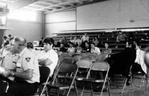 A very attentive audience and lots of empty chairs at the general session, including a young Bob Rennick, who at the time I think was the training officer at the Columbia Fire Department.