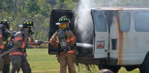 Vehicle fire extinguishment demonstration by Hillsboro Fire Protection District