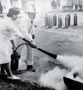 University of Missouri Fire Instructor Bill Westhoff conducting fire extinguisher training at the hospital in Washington in the 1970's.
