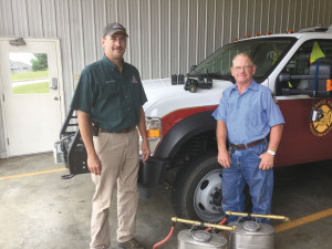 Left to Right: MO Department of Conservation Resource Technician Michael Schulte and Osage Fire Protection District Chief Dennis Braun.