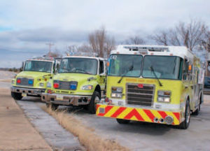 Three generations of the pumper/tanker concept.